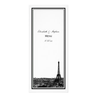 Paris Skyline Etched Framed Menu Card Custom Rack Cards