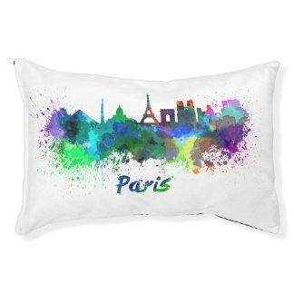 Paris skyline in watercolor pet bed