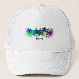 Paris skyline in watercolor trucker hat