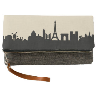 paris skyline view clutch