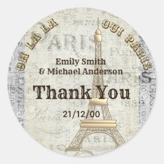 Paris Sticker Custom Vintage Parchment Thank You