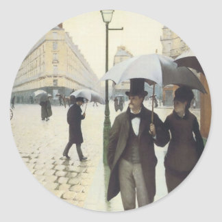 Paris Street, Rainy Day by Caillebotte Classic Round Sticker