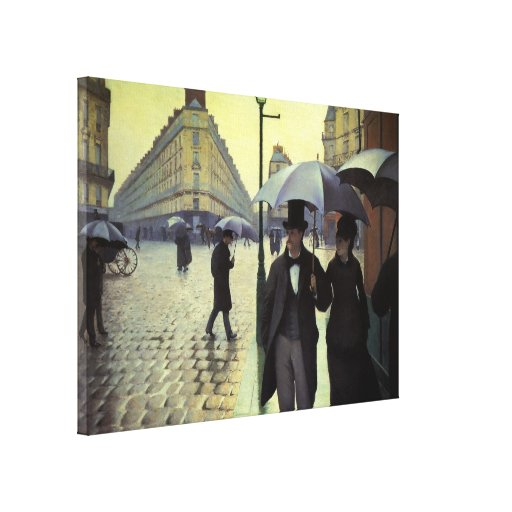 Paris Street Rainy Day by Caillebotte, Vintage Art Gallery Wrapped Canvas