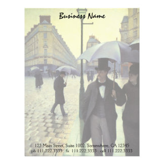 Paris Street Rainy Day by Gustave Caillebotte Letterhead