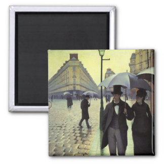 Paris Street Rainy Day by Gustave Caillebotte Square Magnet