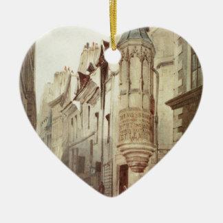 Paris Street scene Ceramic Heart Ornament