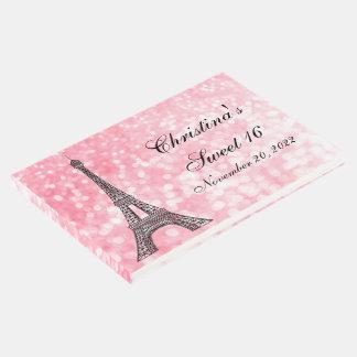 Paris Sweet 16 Pink Glitter Lights Guest Book