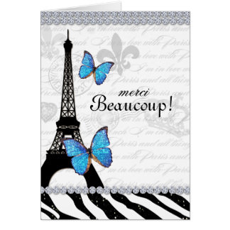 Paris Thank You Card Eiffel Tower Butterfly Zebra