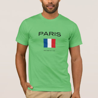 Paris, the flag and GPS Coordinates. T-Shirt