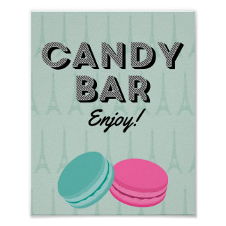 Paris Theme Birthday Candy Bar Poster Sign