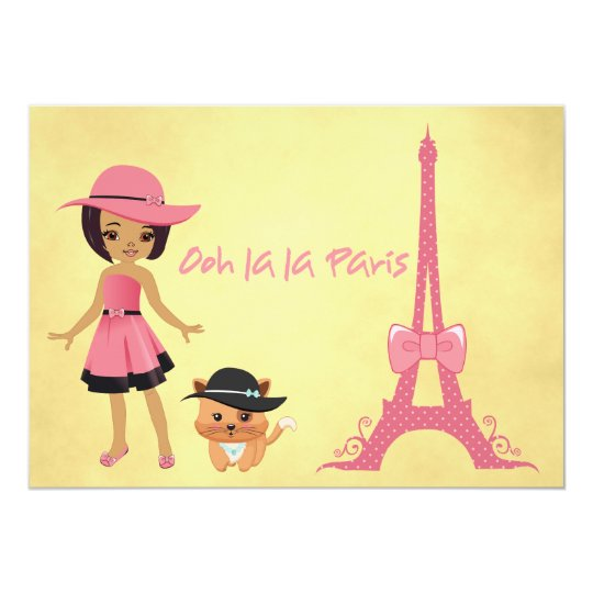 Paris theme birthday invitation