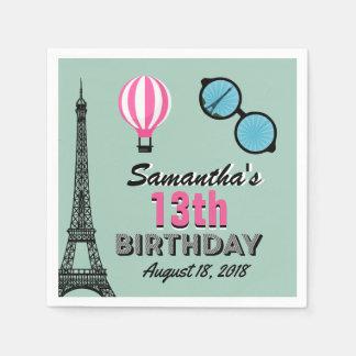 Paris Theme Happy Birthday Paper Napkin