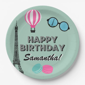 Paris Theme Happy Birthday Paper Plate