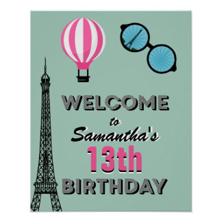 Paris Theme Happy Birthday Welcome Poster Sign