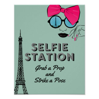 Paris Theme Selfie Station Birthday  Poster Sign