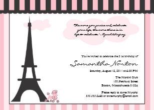 Paris theme birthday invitations announcements zazzle ca paris themed birthday invitation filmwisefo