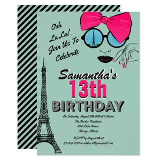 Paris Themed Birthday Invitation Card