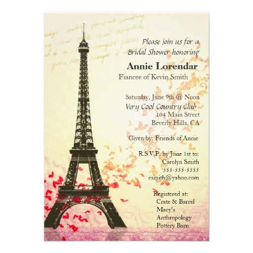 Paris Themed Bridal Shower Invitation template