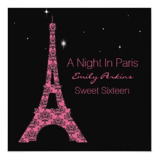 "Paris Themed Custom Sweet Sixteen Invitation 5.25"" Square Invitation Card"