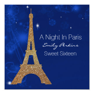 Paris Themed Elegant Sweet Sixteen Invitation