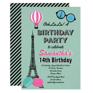 Paris Themed Happy Birthday Invitation Card