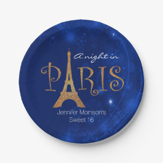 Paris Themed Sweet 16 Custom Paper Plates 7 Inch Paper Plate