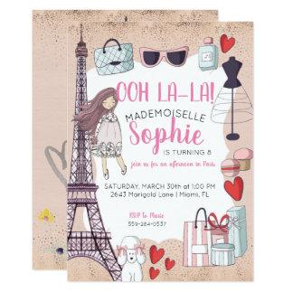 Paris Themed Tween Party Card