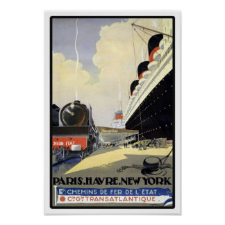 Paris to New York Vintage Travel Poster