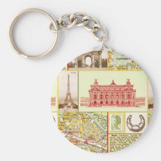 Paris Tour Basic Round Button Keychain