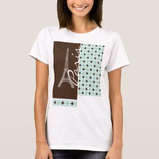 Paris ; Tour Eiffel ; Vert sauge et Brown T-shirt