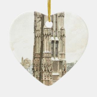 Paris, Tour Saint Jacques Ceramic Heart Ornament