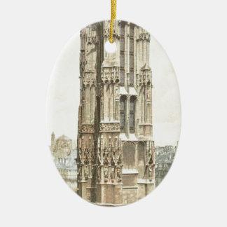 Paris, Tour Saint Jacques Ceramic Oval Ornament
