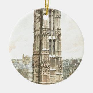 Paris, Tour Saint Jacques Round Ceramic Ornament