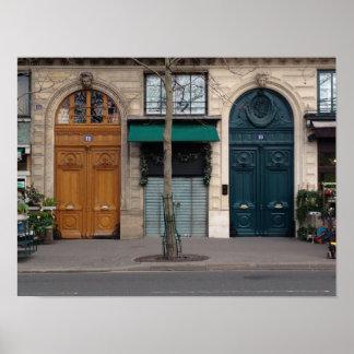 Paris Two Heart Love Door Poster