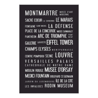 Paris typographic poster, grey poster