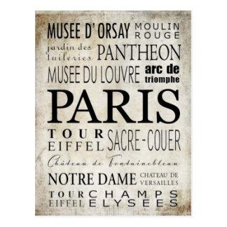 Paris Typography - Subway Style Postcard