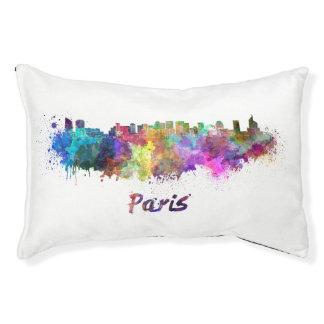 Paris V2 skyline in watercolor Pet Bed