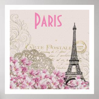 PARIS | vintage Eiffel tower card Poster