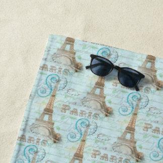 Paris Vintage French Writing Aqua Beach Towels