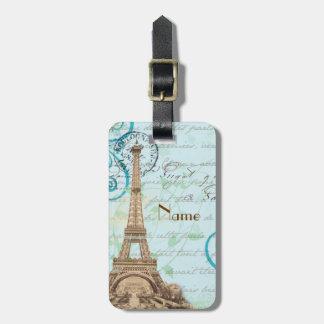Paris Vintage French Writing Aqua Luggage Tag