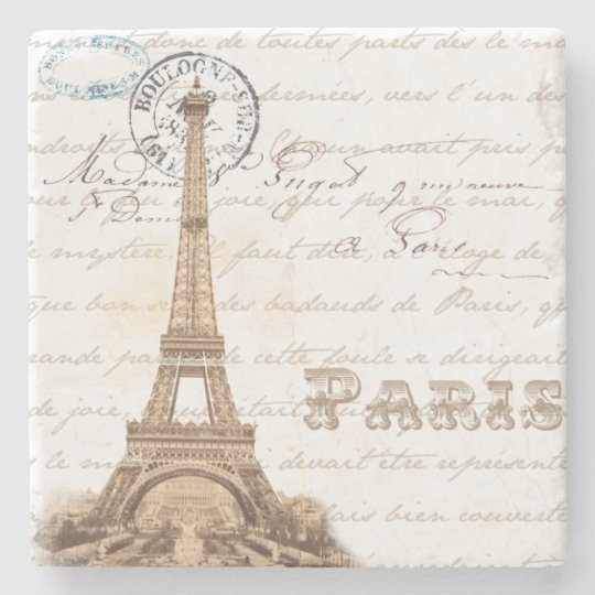 Paris Vintage French Writing Stone Coaster