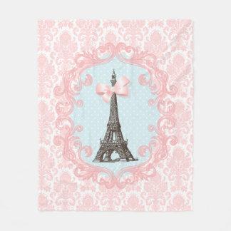 Paris Vintage Pink Damask Eiffel Tower Girly Bow Fleece Blanket
