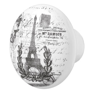 Paris Vintage Script Postage Collage Style Ceramic Knob