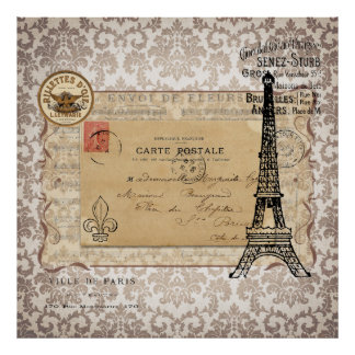 Paris Vintage Shabby Chic Eiffel Tower Posters