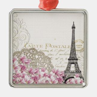 Paris vintage Silver-Colored square ornament