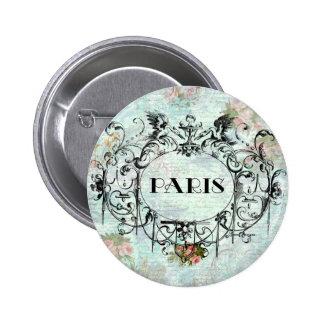 Paris Vintage Style Cartouche Pink Roses 2 Inch Round Button