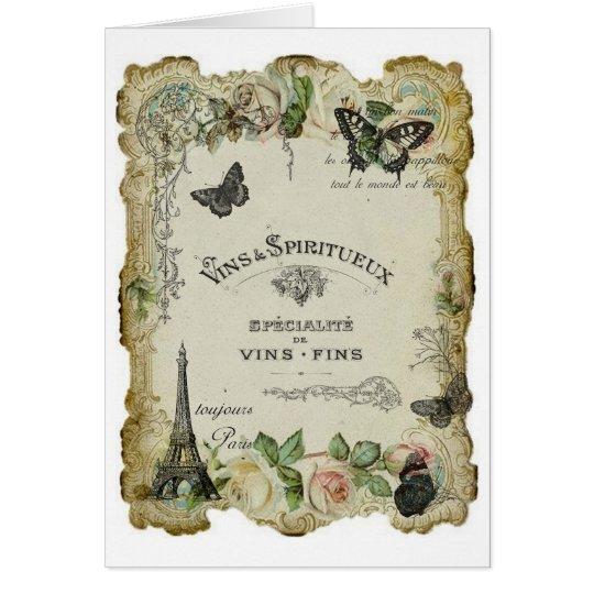 Paris Vintage Wine and Roses Card