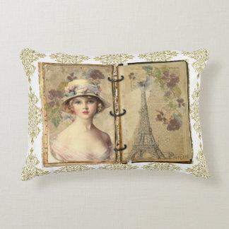 Paris Vintage Woman Journal Gold Filigree Pillow