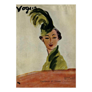 Paris Vogue Cover ~ Hats & Fabrics 1935 Poster