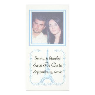 Paris wedding blue Eiffel Tower Save the Date Photo Greeting Card